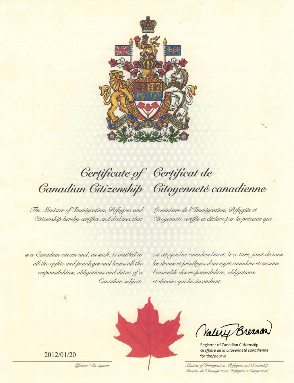 proof of canadian citizenship certificate