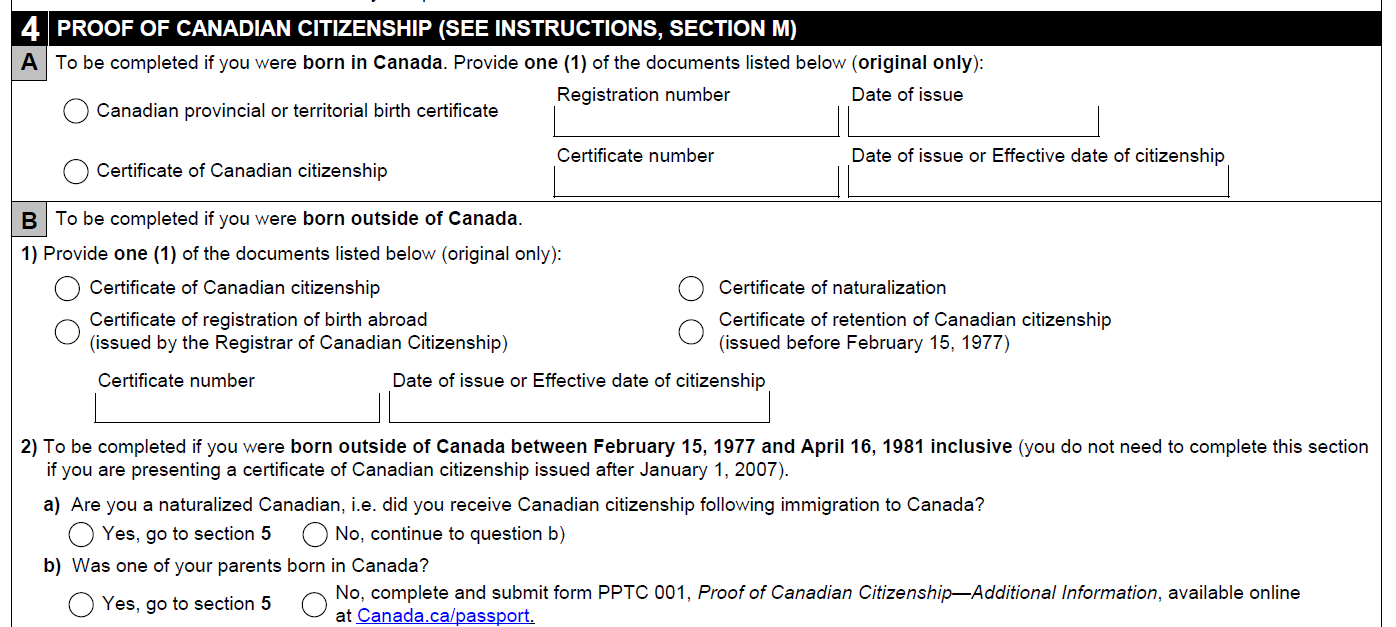 canadian passport application proof of citizenship requirement